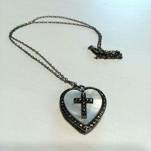 Sterling Silver Heart Cross Locket Necklace